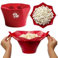 keksmacher kekspresse großhandel-Mikrowelle Popcornschüssel Popcorn Popper Maker Silikon Gesunder Snack Kein Ölfett