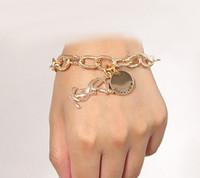 Wholesale wholesale fashionable charm bracelets - Fashionable Women exaggerated Chain cuff Bracelets Gold Silver disc letter charm chain bracelet