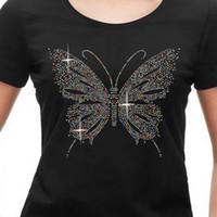 mariposa de motivos de hierro al por mayor-Descontado Mezcla Color Mariposa Piña Corazón Rhinestone Transfiere Hierro Sobre Motivo Calor Hot Fix Applique