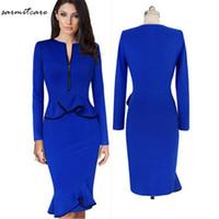Wholesale Ruffle Summer Dress - 0122 - Red Blue Colors Front Zip Long Sleeve Waist Hem Ruffled Knee Long Dress OL Working Dress Office Dress Long Summer Dress
