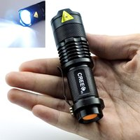 Wholesale Mini Led Torch 7w - Mini LED Flashlight CREE Q5 Zoomable Waterproof 7W 3 modes Flashlight Glare Torch Adjustable Focus Flash Light