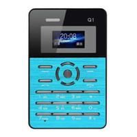 Wholesale Portable Tft - DHL EMS Qmart Q1 Quad Band Mini portable Ultra-thin Pocket Card Mobile Phone 0.96Inch TFT Screen Bluetooth2.0 MP3