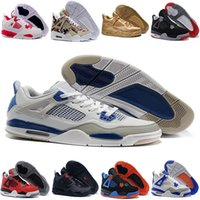 Air Retro 4 Military Motosports Blue Pure Money Cemento bianco Royalty Bred Fire Red Black Cat Oreo Uomo Scarpe da basket Sneakers