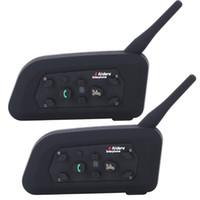 ingrosso bt casco auricolare-2018- Vnetphone V6 Moto Bluetooth3.0 Interfono Casco Auricolare 1200 M Moto Wireless BT Interphone per 6 Riders Casco Citofono
