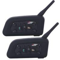 bt capacete venda por atacado-2019-Vnetphone V6 Motocicleta Bluetooth3.0 Capacete Interfone Headset 1200 M Moto BT Sem Fio Interfone para 6 Pilotos Capacete Interfone