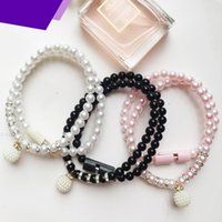 Wholesale Wholesale Usb Necklace - USB Cell Phone USB Cable Bracelet Charging Synchronous USB Data Line Bracelet and Necklace for Micro USB2.0 Android Phones Smart Phones