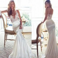 Wholesale Silk Wedding Dresses Cheap - Simply Mermaid Wedding Dresses Spaghetti V Neck 2017 Lace Wedding Gown Sweep Train Cheap Backless Lurelly Spring Vintage Bridal Dress