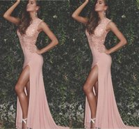 Wholesale Jersey Formal Gowns - 2017 Arabic New Sexy Blush Pink Lace Appliques Beaded Jewel Neck Prom Dresses Side Split Plus Size Pageant Party Dress Formal Evening Gowns
