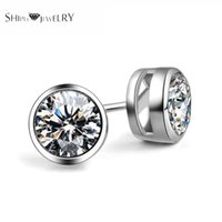 Wholesale SHIPEI New Fashion Woman Man Round Stud Earrings with White Gold Plating and Carat AAAA Shine Imitation Diamonds