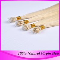 Wholesale Brazilian Hair Extension Micro Bead - Free Shipping 100strand pack Micro Nano Ring Hair Extensions #613 Blonde Brazilian Straight High Quality Nano Bead Hair Extension