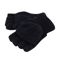 Wholesale Cashmere Gloves Sale - Wholesale-New Men Women Gloves Winter Warm Half Finger Flip Knitted Mittens Glove Hot Sale 6 Colors Y8 CQ4