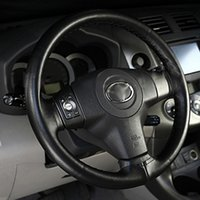 Wholesale New Leather Steering Wheel Cover - New Car Auto Super Fiber Leather Steering Wheel Cover With Needle and Thread Black hot selling