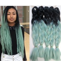 Kanekalon ombre jumbo tressage Cheveux Crochet Braid twist 100g 24inch blackMint / Dull Green Deux tons Extensions de cheveux en tressage synthétique