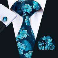 kravat seti hırka kol düğmesi toptan satış-Klasik Ipek Erkek Kravatlar Mavi Kravat Set Çiçek Mens Kravatlar Kravat Hanky Kol Düğmeleri Seti Jakarlı Dokuma Toplantı Iş Düğün Parti Hediye N-1427