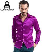 Wholesale dance costume tuxedo - Wholesale-Men's Shirt Show Bright Costume Party Men Dance Chorus Silk Shirt Fashion Shiny Silky Satin Dress Shirt