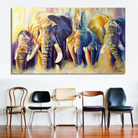 Wholesale Group Oil Paintings - 1 Pcs Home Decor Oil Painting A Group Of Elephants Wall Pictures For Living Room Paintings On Canvas No Frame