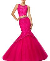 capas de botão de strass venda por atacado-Nova Moda 2019 Sereia Fúcsia Duas Peças Vestidos Quinceanera Doce 15 Colher Debutante Vestidos de Renda Strass Botões Vestidos de Baile Vestidos
