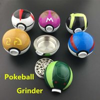 USA Hottest Pokeball Grinder 3 Layer Parts 55mm Zinc Alloy Metal Ball Dry Herbal Grinders Nouveau 6 Couleurs Smoking Accessories Wholesale