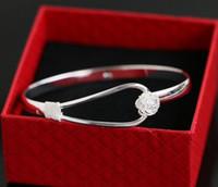 Wholesale Silver Flower Cuff Bangle Bracelet - Bracelets 925 sterling silver rose flower cuff bracelet fashion bangle for women jewelry bangles Min Order 30pcs Free Shipping