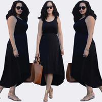 Wholesale Woman Dress Short Front - New Hot Fashion Irregular Sleeveless Dress Short In Front Long Dress Plus Size Dresses Skirts 1134