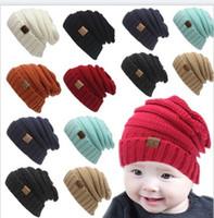neugeborene großhandel-Mix 12 Farben Baby Hüte Kinder Weihnachten CC Trendy Beanie Häkeln Caps Jungen Mädchen Winter Neugeborenen Hut Kinder Wolle Strickmützen Warme Mütze