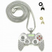 Wholesale Mens Figaro - 2016 Hip Hop Game Machine Handle Pendant Necklace Mens Full Crystal Heavy Necklace Iced Out Game controller Necklace
