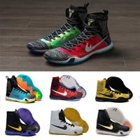 Wholesale High Top Sneakers Free Shipping - NEW 2016 What the kobe 10 Elite Weaving Retro Mens Basketball Shoes for Top Quality KB X High Training Sneakers Size 7-12 Free shipping