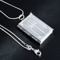Wholesale Opened Box Pendant - Wholesale Silver Plated Cross Open Box Pendant Necklace Fashion Gold Tone Cross Box Pendant With Snake Chain For Men And Women