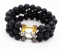 Wholesale beads bracelet mens black - Mens Gift Alloy Metal Barbell & Lava Rock Stone Beads Fitness Fashion Dumbbell Bracelets J004