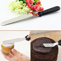 Wholesale Flat Polisher - Metal Kitchen Baking Pastry Plastic Handle Cake Icing Spatulas Cream Butter Smooth Flat Scraper Blade Decorating Tool