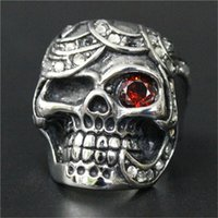 Wholesale ruby skull ring - 3pcs lot Wholesale Crystal Ghost Skull Ruby Eye Ring 316L Stainless Steel Fashion jewelry Evil Damn Skull Ring