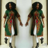 Wholesale Tall Casual Dress - 2017 African Ethnic Style Pattern Printed Long Dresses Short sleeve O Neck Green Dashiki Tall Shirts Dresses Vestidos National characteri