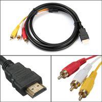 hdtv bileşeni video kablosu toptan satış-5FT 1.5 M 5 Ayaklar 1080 P HDTV HDMI Erkek 3 RCA 3RCA Erkek Ses Video AV Kablo Kablosu Adaptörü Dönüştürücü Bağlayıcı Bileşen Kablo Kurşun