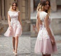 abertura de volta curto vestido rosa claro venda por atacado-Vestidos Curtos Elegantes Homecoming Com Laço Branco Applique Light Pink Jóia Vestidos Curtos Tampão Noite Abertos Voltar Lace-Up Custom Prom Dress