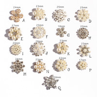 Wholesale Diy Flat Backs - Flat Back Rhinestone Pearl bottons Emberllishment Used On wedding 100pcs lot Wedding Button kids DIY alloy Brooch A8011