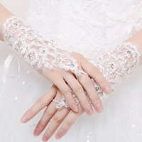 Wholesale Bridal Lace Beads - HOT Sale New Arrival Cheap In Stock Lace Appliques Beads Fingerless Wrist Length With Ribbon Bridal Gloves Wedding Accessories
