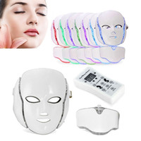 Wholesale led beauty facial mask - PTD Photon LED Face and Neck Mask 7 Color LED Treatment Skin Whitening Firming Facial Beauty Mask Electric Anti-Aging Mask