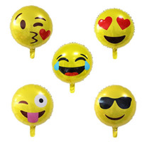 decoraciones de globos al por mayor-18 pulgadas Emoji foil globo fiesta de cumpleaños feliz Emoticonos globo de helio decoración de la boda globos