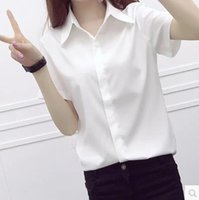 Wholesale Korean Career Shirt - 2016 summer new Korean short-sleeved white shirt female shirt Slim minimalist big yards student tooling OL career