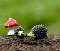 ingrosso set gnomi da giardino-2016 nuovo commercio all'ingrosso ~ 20 Set / resina hedgehog e funghi / miniature / animali belli / fairy garden gnome / terrarium decorazione / artigianato
