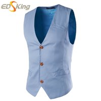 Wholesale Mens Waistcoat Green Vest - Fall-Crazy Price 9.65 $!! New 2016 Mens Blazer Vest Sleeveless Waistcoats Classic Single Breasted Green Gilet Costume Homme 5 Colors
