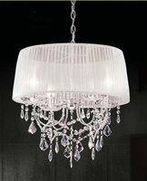 modern kumaş sarkıt ışıkları toptan satış-Modern K9 Kumaş Gölge Abajur Ile Kristal Avize Işık LED Avize Tavan ışık Moda kolye ışık # 19