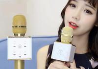 ingrosso microfono per il karaoke del computer portatile-STOCK Nuovo arrivo! DHL libero 2016 di alta qualità senza fili Bluetooth Q7 microfono Self-Karaoke supporto portatile KTV casa del computer portatile
