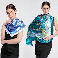 Wholesale White Elegant Scarves - Large Square Scarves New Female Elegant Large Silk Scarf Fashion Ladies Accessories 90*90cm