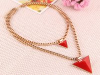 Wholesale Retro Style Bib Necklace - Fashion Women Jewelry Accessories Punk Retro Style Geometric Double Triangle Long Necklace & Pendants Bib Statement for Women