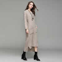 Wholesale Knit Sweater Dress Plus Size - New Women Long Sweater Dress 2017 Autumn Winter Sexy Slim Dresses Elastic Skinny Dress Brief Knitted Dress Vestidos Loose Solid Plus Size