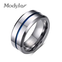 Wholesale Tungsten Wedding Bands For Men - 2016 Fashion Thin Blue Line Tungsten Ring Wedding Brand 8MM Tungsten Carbide Rings for Men Jewelry