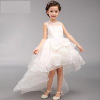 Wholesale Girls Long Tail Dress - Flower girl dress SleevelessTulle Lace Dress Long Tail Wedding Bridesmaid Formal Pageant Party Floral Big Bow Kids Dresses