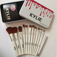 Wholesale Bb Sets - Hot Sale !!! Kylie Jenner Oval Makeup Brushes Sets Cosmetics Brush Foundation BB Cream Powder Blush 12 Pcs Set Makeup Tools Fast Shipping
