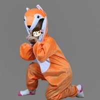 Hot Uinsex Animal Costume para crianças Cartoon Fox Anime Cosplay Jumpsuits Boy Girls Hallowmas Costume Carnival Party Birthday Gift